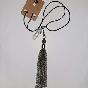 Healing Marble + Aventurine Chain Tassle Necklace